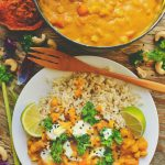 A Sweet Yellow Curry with Carrots, Chickpeas, and Cashew Nuts + News