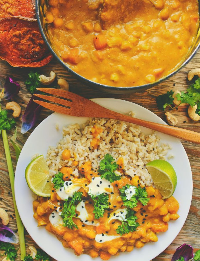 a sweet yellow curry with carrots, chickpeas, and cashew nuts + news.