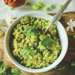 edamame bean and pea spread with crushed almonds
