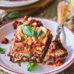 """Lentil Aubergine Lasagna with Cashew """"Cheese"""" (Oil-Free)"""